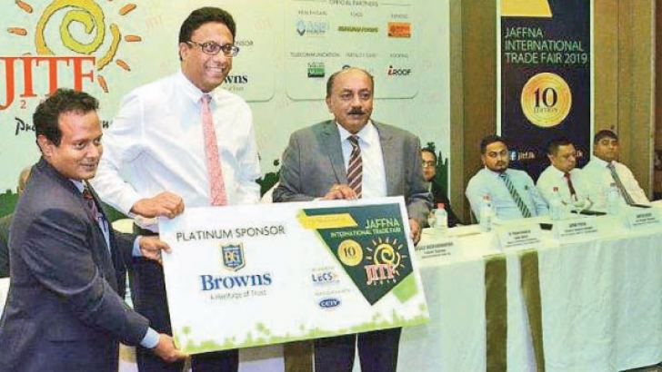 From left: V.K. Vignesh, Chairman of the Chamber of Commerce and Industry of Yarlpanam; Aasim Mukthar, CEO, Lanka Exhibition and Conference Services Pvt Ltd; and Kennedy Joseph, Senior Vice President – Power Systems Division, Brown & Company.
