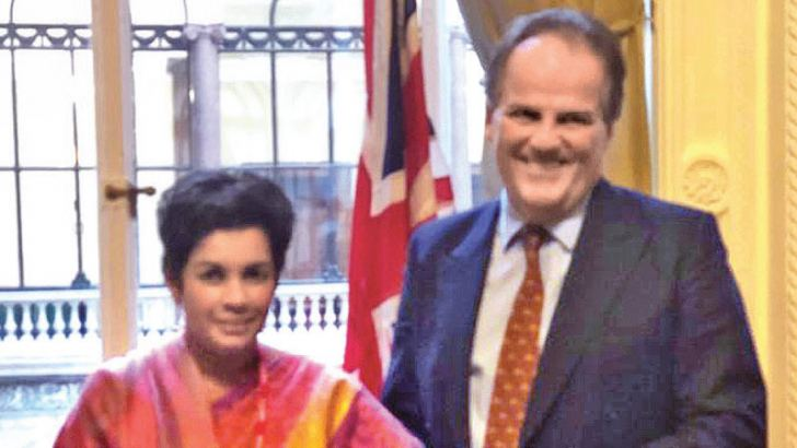Sri Lanka's High Commissioner in the UK Manisha Gunasekera with Minister of State for Asia and the Pacific of the Foreign and Commonwealth Office Mark Field.
