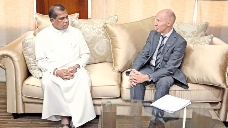 Finland Ambassador Harri Kamarainen and Minister Madduma Bandara  during the discussions.