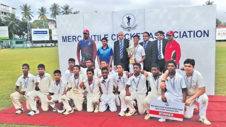 Champion CCC under-13 cricket team with trophy and guests