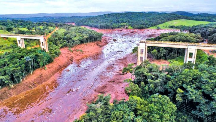 Aerial view of a fallen bridge taken after the  collapse of a dam near the town of  Brumadinho in southeastern Brazil.