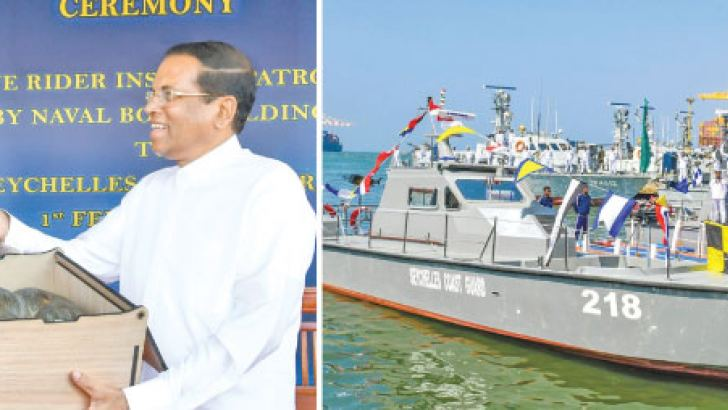 The two 'Wave Rider' craft made by the SL Navy was handed over to Seychelles Vice President Vincent Meriton by President Maithripala Sirisena at the Colombo Harbour yesterday. Pictures by President's Media Division.