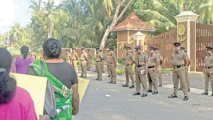Keppapilavu residents protest opposite the Mullaitivu Security Force Headquarters.