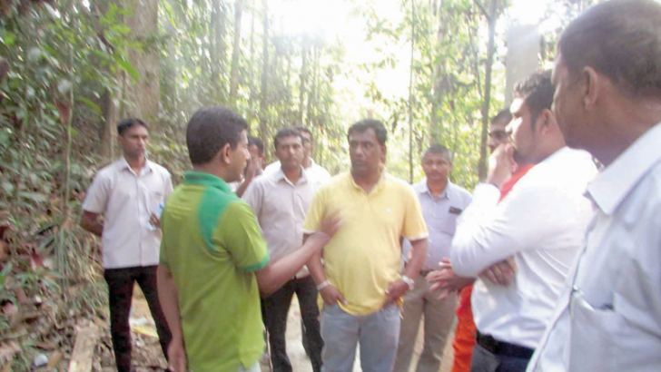 Southern Province Governor Keerthi Tennakoon with forest officers in the Kottawa Forest Reserve in Galle. Picture by Mahinda P.Liyanage- Galle Central Special Corr.