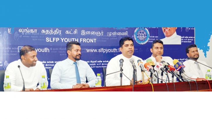 SLFP National Youth Front (NYF) Chairman MP Shantha Bandara speaks at the media conference yesterday. Picture by Wimal Karunathilaka