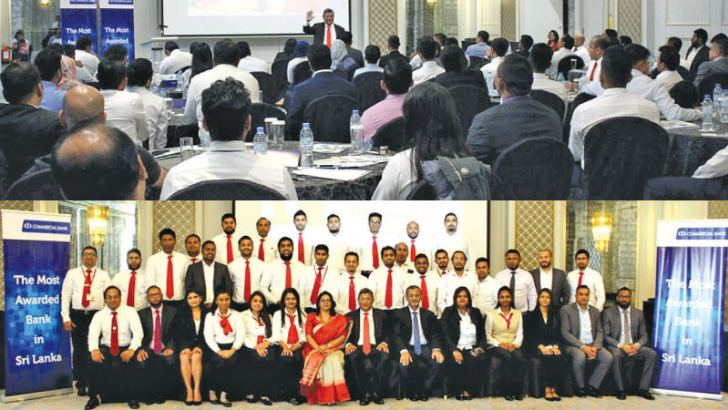 Dr Naomal Balasuriya addressing the audience and Commercial Bank's Head of Digital Banking Unit  Pradeep Banduwansa with a group of exchange house staff that participated in the programme in Dubai.
