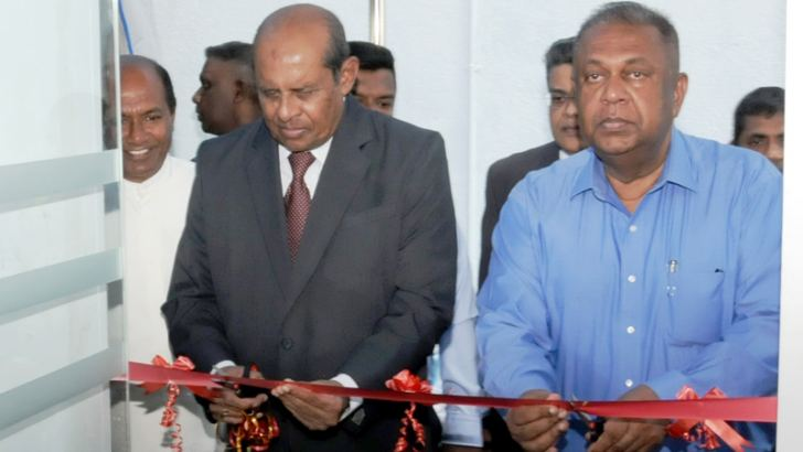 Foreign Minister Thilak Marapana and Finance and Mass Media Minister Mangala Samaraweera opening the second Regional Consular Office in Matara.