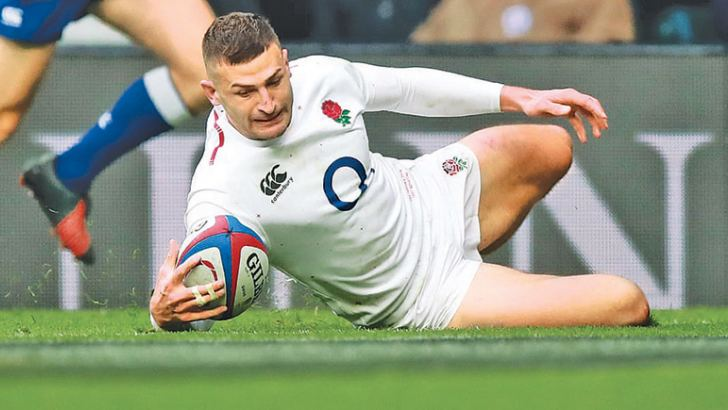 Jonny May scores his third try against France in England's 44-8 win.