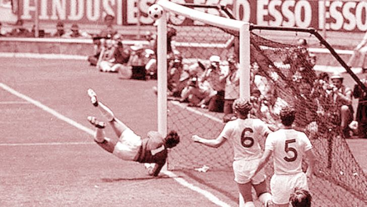 Gordon Banks saves a certain goal from Pele in the 1970 World Cup.
