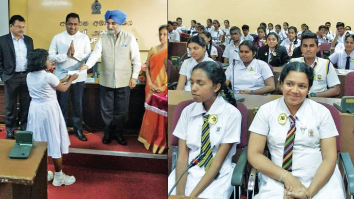 A special ceremony to award the prestigious Mahatma Gandhi Scholarships for 2017-18 was held at the Education Ministry Auditorium, Battaramulla. Here, Indian High Commissioner to Sri Lanka Taranjit Singh Sandhu presenting a scholarship to a student. Education Minister Akila Viraj Kariyawasam and State Education Minister Vijayakala Maheswaran were also present.