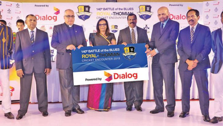 (from left): Kavindu Madarasinghe, captain, Royal College, S. Rajmohan, co-chairman Royal-Thomian Match Committee, Rev. Marc Billimoria, Warden, S.Thomas' College, Amali Nanayakkara, Group Chief Marketing Officer, Dialog Axiata PLC, B. A. Abeyratna, Principal Royal College, Shayam Majeed, Group Chief Corporate Officer, Dialog Axiata PLC, Roshan Adams, co-secretary Royal-Thomian Match Committee and Sithara Hapuhinna, captain, S. Thomas' College.