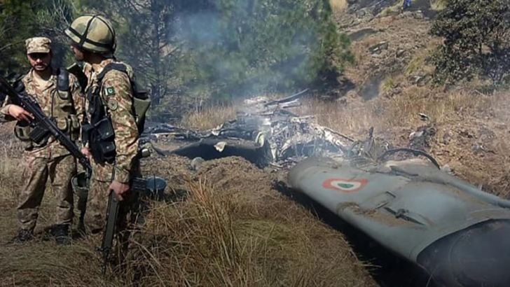 Footage appears to show wreckage from a downed Indian jet.