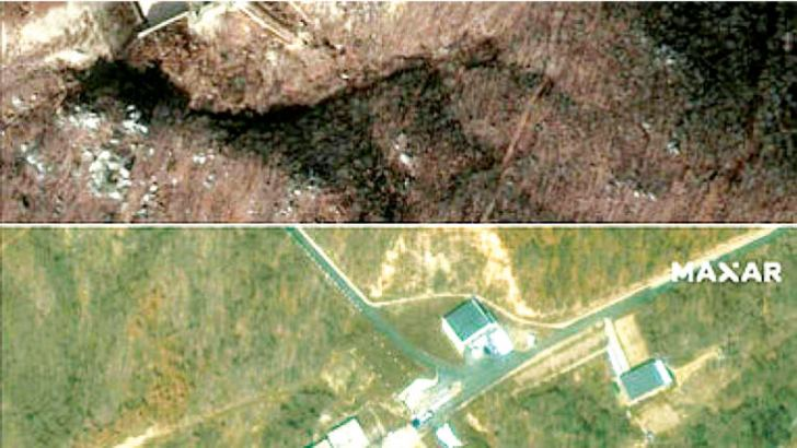 Satellite images provided by 2019 DigitalGlobe, a Maxar company, of the Sohae Satellite Launching Station in North Korea. - AFP