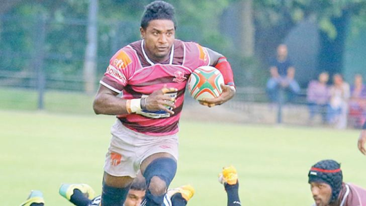 One of the Havies' two try hero -  scrum half Mithun Hapugoda on his way to score one of his tries. Picture by Saman Sri Wedage