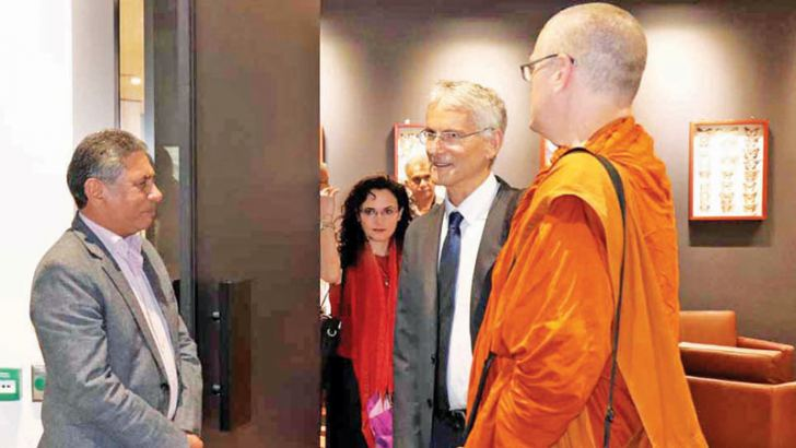 Consul General Lal Wickrematunge with Ven. Ajahn Sujato Thera and  Dr. Mark Allon, at the Dhamma discussion.