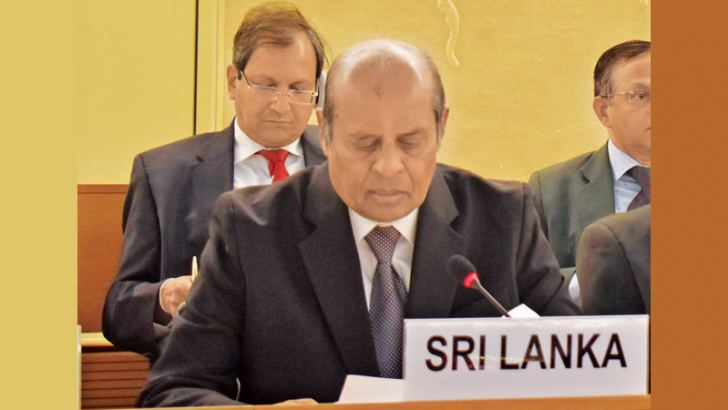 Foreign Affairs Minister Tilak Marapana PC addressing the 40th Session of the United Nations Human Rights Council (UNHRC) in Geneva yesterday.  Picture courtesy Foreign Affairs Ministry