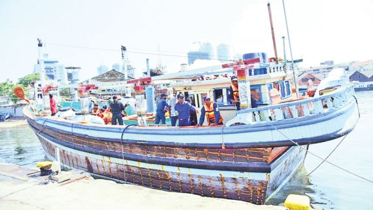 The seized trawler. Picture by Navy media