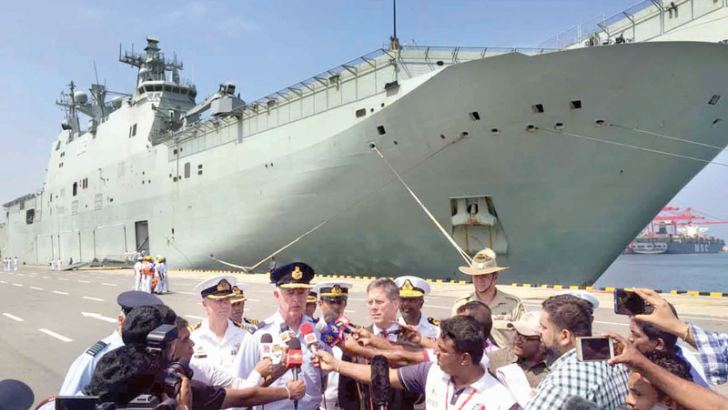 Joint Task Force Commander Air Commodore Richard Owen and Acting Australian High Commissioner Jon Philp speak to the media, shortly after HMAS Canberra arrived at the Colombo Port for a defence engagement programme with Sri Lanka, under the Indo Pacific Endeavour 2019 (IPE-19), on Saturday.