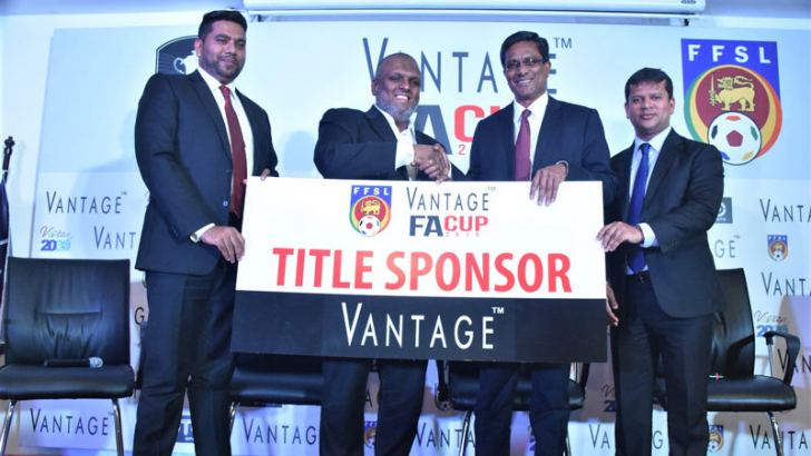 The Chairman of Ebony Holdings (Pvt) Ltd. Rasmy Raheem handing over the sponsorship cheque to Anura de Silva president of FFSL. Mohamed Musfir, Manager Marketing – Ebony Holdings (Pvt) Ltd and Jaswar Umar, Secretary General/CEO - Football Federation of Sri Lanka are also in the picture. Picture by Herbert Perera