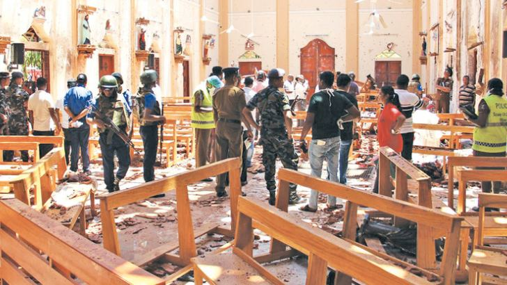 The destruction caused by the Easter Sunday bomb attack on the St Sebastian's Church at Katuwapitiya in Negombo.