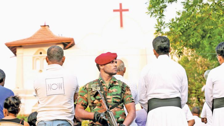 A special service and mass was held at St. Sebastian's Church for the souls of those who died on Easter  Sunday bomb attacks. Picture by Sulochana Gamage