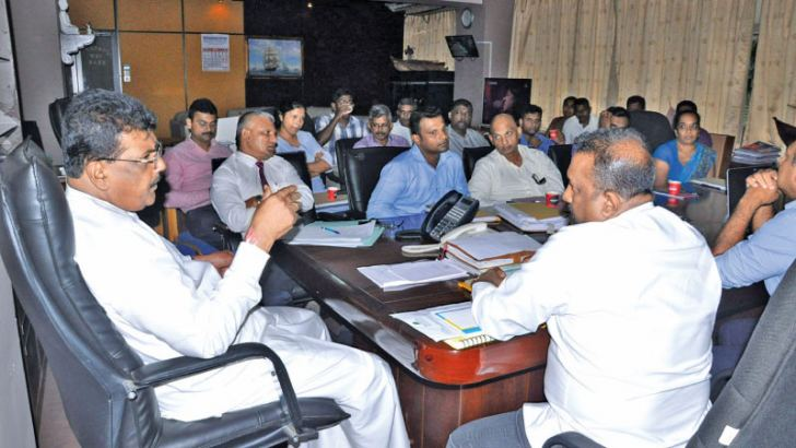 Fisheries and Aquatic Resources Development State Minister Dilip Wedaarachchi chairing a meeting at the Fisheries and Aquatic Resources Development Ministry.