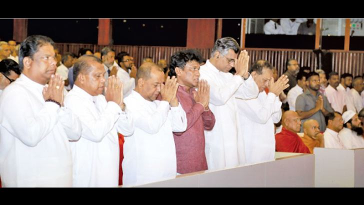 """Minister Patali Champika Ranawaka participating in the inauguration conference of """"The National Path"""" movement organized by the People's Movement for the Development and the Protection of the Nation held at BMICH yesterday evening. Religious leaders, Speaker Karu Jayasuriya, government ministers and MPs, Opposition MPs, Civil Society activists, government officials and other distinguished guests participated. Picture by Nirosh Batepola"""