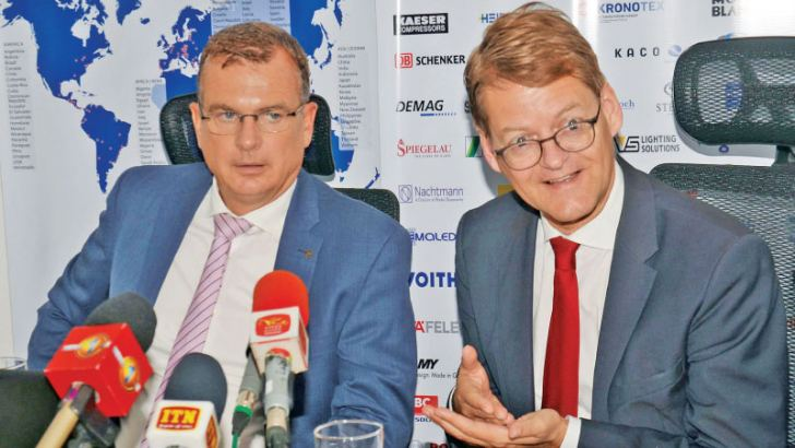 The Chief Delegate of AHK Sri Lanka, Andreas Hergenröther and Director, International Business of Messe Duesseldorf, Dr. Clemens Schuette.   Picture by: Vimal Karunatilake.