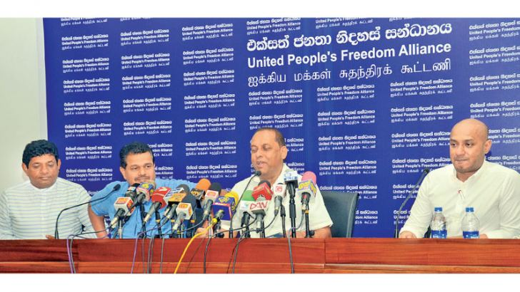 SLFP General Secretary MP Mahinda Amaraweera addresses the journalists. Picture by Wimal Karunathileke