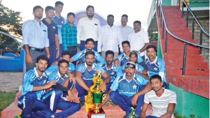 Champion Thambaddai Eleven Star Sports Club team with the guests and trophy.