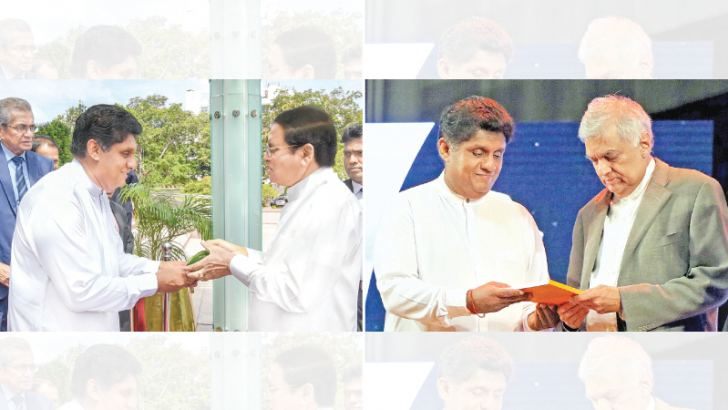 Housing, Construction and Cultural Affairs Minister Sajith Premadasa with President Maithripala Sirisena and Prime Minister Ranil Wickremesinghe at the 40th anniversary celebrations of the National Housing Development Authority at the BMICH yesterday. Pictures by Sudath Silva and Hirantha Gunathilaka