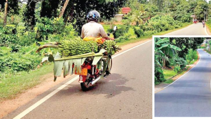 A farmer takes his produce to the fair with ease. Inset: A rural road improved under the iRoad programme. Pictures by Priyan De Silva
