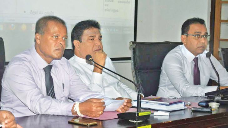 Agriculture, Livestock Development Irrigation and Fisheries and Aquatic Resources Development Minister P. Harrison, Government Agent Wanninayake and Deputy Secretary to the Treasury E.M.B.P Atapattu at the meeting.
