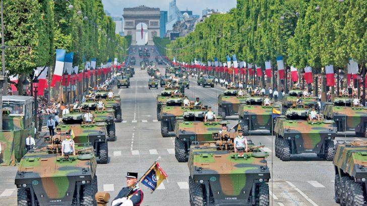 The Bastille Day parade moving along the Champs Elysees marking the French Revolution on Sunday.