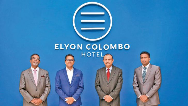 Elyon Hotels Chief Operating Officer Samantha Gunaratne, Co-founder and Managing Director Presantha Jayamaha, Elyon Hotel Colombo General Manager Nilantha Rupasinghe and Product Development Manager Harith Mallawaarachchi. Picture by Wimal Karunatillike