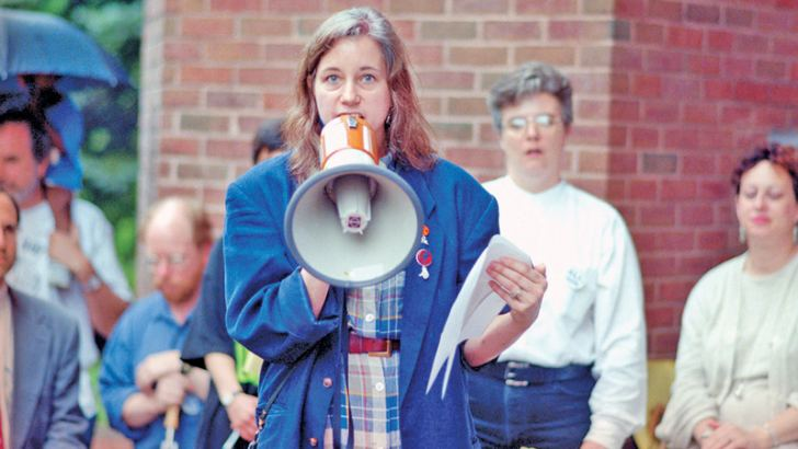 Lippman at a union rally in 1996, when she was a reporter at the Baltimore Evening Sun.