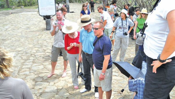 A group of foreign tourists at Sigiriya. Picture by A.A.L.Dias, Matale District Group Corr.