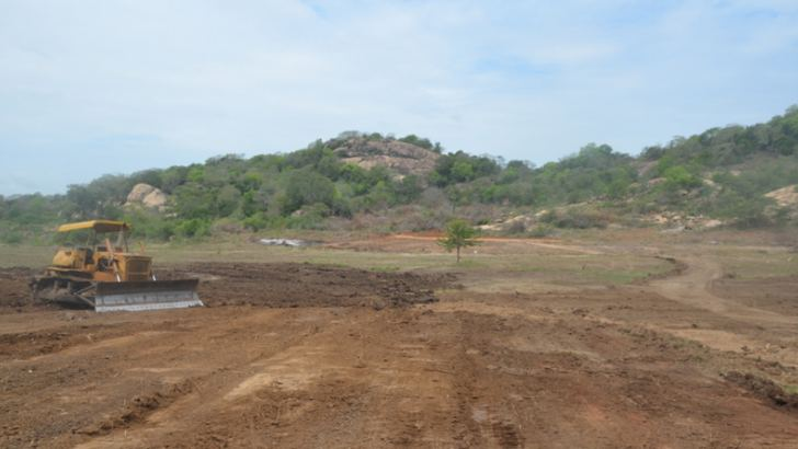 The site of the reservoir is prepared for the construction. Picture by Nimal Wijesinghe
