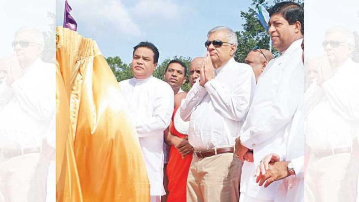 Prime Minister Ranil Wickremesinghe at the foundation stone laying ceremony for the construction of the proposed lower Malwathuoya reservoir. Picture by Hirantha Gunathillake