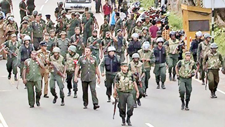 File photo: Soldiers under the Brigadier in Rathupaswela.