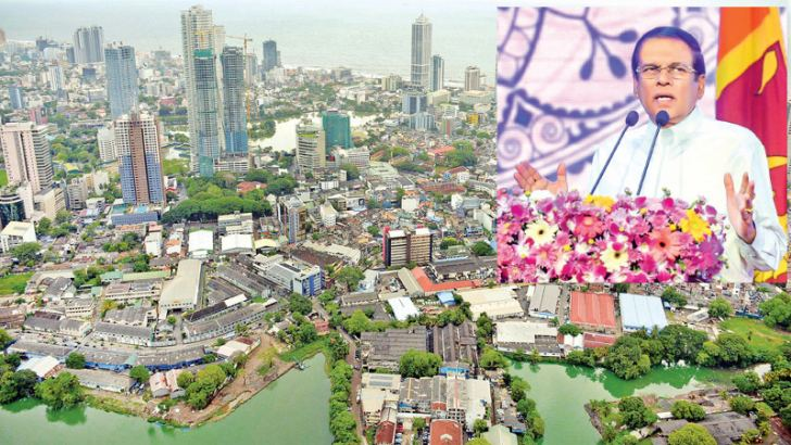 Towering above Colombo's tallest towers: The Lotus Tower (Nelum Kuluna) was opened by President Maithripala Sirisena in Colombo yesterday evening. Speaker Karu Jayasuriya and Chinese Ambassador in Colombo Cheng Xueyuan were present. Picture shows a Panoramic view of the city from the tower. Pictures by Sudath Malaweera