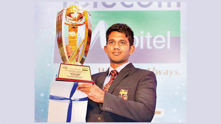 Flashback: 2018 Observer Mobitel Schoolboy Cricketer of the Year:  Trinity College's Hasitha Boyagoda holds aloft his trophy for being adjudged the Observer Mobitel Schoolboy Cricketer of the Year 2018 at its 40th Awards Night held at the Hilton Hotel in Colombo last year.