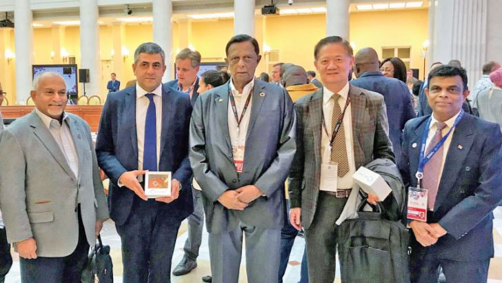 UNWTO Secretary-General Zurab Pololikashvili flanked by Minister of  Tourism Development, Wildlife and Christian Religious Affairs, John  Amaratunga, Senior Advisor to the Minister Felix Rodrigo and Director  General, Sri Lanka Tourism Development Authority, Upali Ratnayake