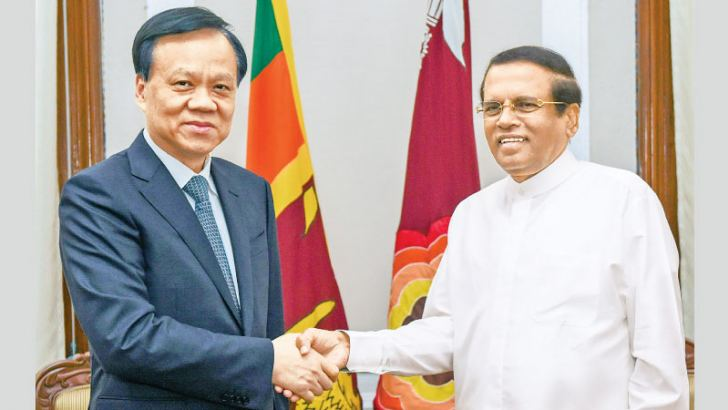 President Maithripala Sirisena with Member of the Political Bureau of the Communist Party of China (CPC) Central Committee, Chen Min-Er.
