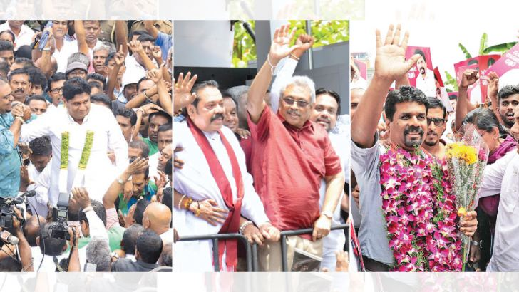 The three main candidates at the upcoming Presidential election, namely Minister Sajith Premadasa of the United National Party (UNP) led New Democratic Front (NDF), Gotabaya Rajapaksa of the Sri Lanka Podujana Peramuna (SLPP) and Anura Kumara Dissanayake MP of the Janatha Vimukthi Peramuna (JVP) led National Peoples' Power (NPP) greeting supporters after handing over nominations at the election secretariat in Rajagiriya yesterday. Pictures by Wimal Kaurnathilaka, Hirantha Gunathilaka and JVP Media Unit