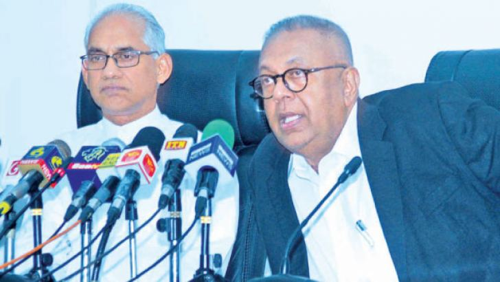 Minister Samaraweera and State Finance Minister Eran Wickramaratne at the press conference yesterday Picture by Saliya Rupaisnghe