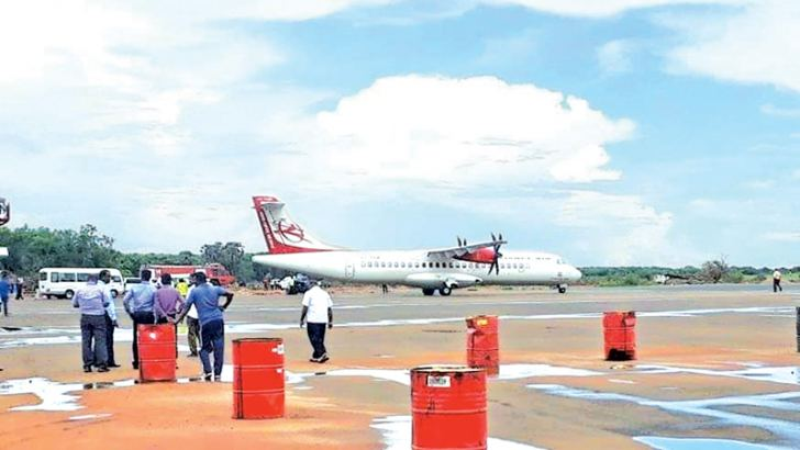 A recent test flight at the Jaffna International Airport. Picture by Rasula Dilhara Gamage