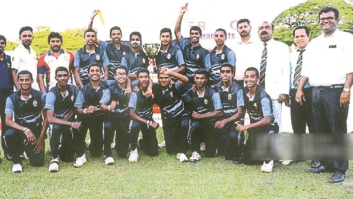 The victorious Mahanama College Colombo cricket team posed for a photograph just after winning the under 17 division one cricket final for the Singer Trophy organised by Sri Lanka Schools Cricket Association. Also in the picture is L.M.D. Dharmasena standing fourth from right in the back row.    Picture by Dilwin Mendis Moratuwa Sports Special Correspondent