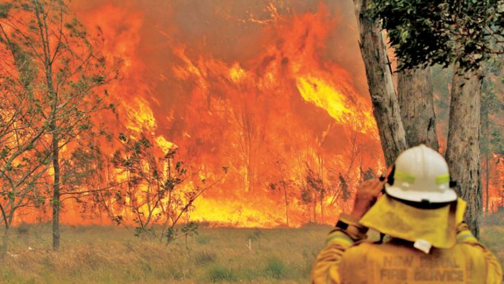 A firefighter on property protection watches the progress of bushfires in Old Bar, New South Wales.