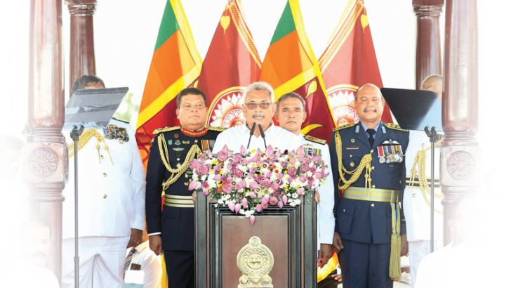 President Gotabaya Rajapaksa addressing the nation at the swearing-in ceremony at the Ruwanweli Mahaseya in Anuradhapura yesterday. Picture by Wasitha Patabendige